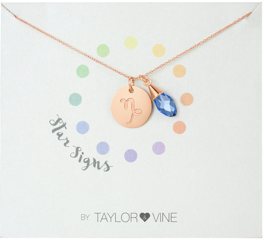 Taylor and Vine Star Signs Capricorn Rose Gold Necklace with Birth Stone