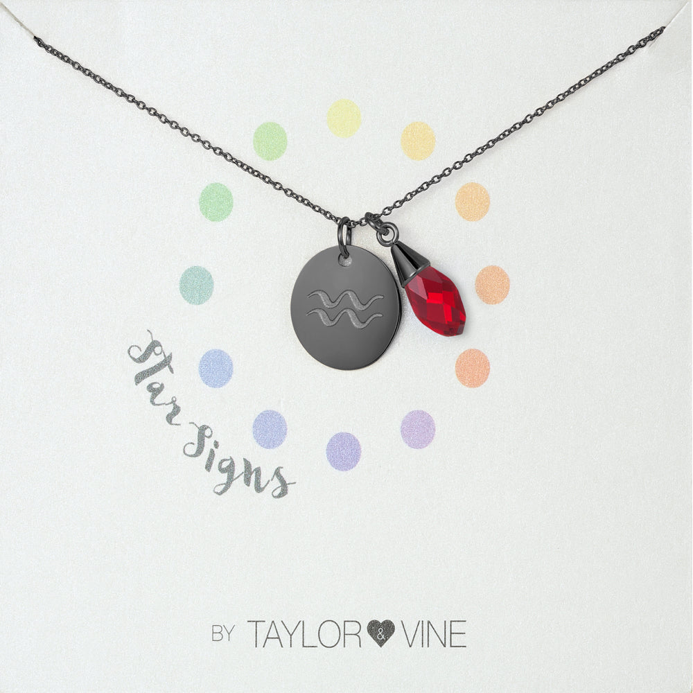 Taylor and Vine Star Signs Aquarius Black Necklace with Birth Stone