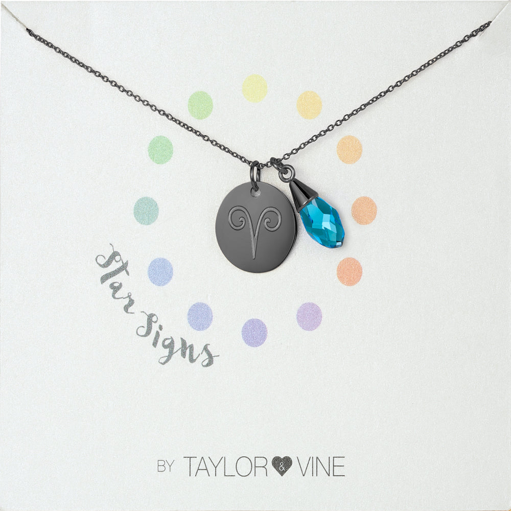 Taylor and Vine Star Signs Aries Black Necklace with Birth Stone