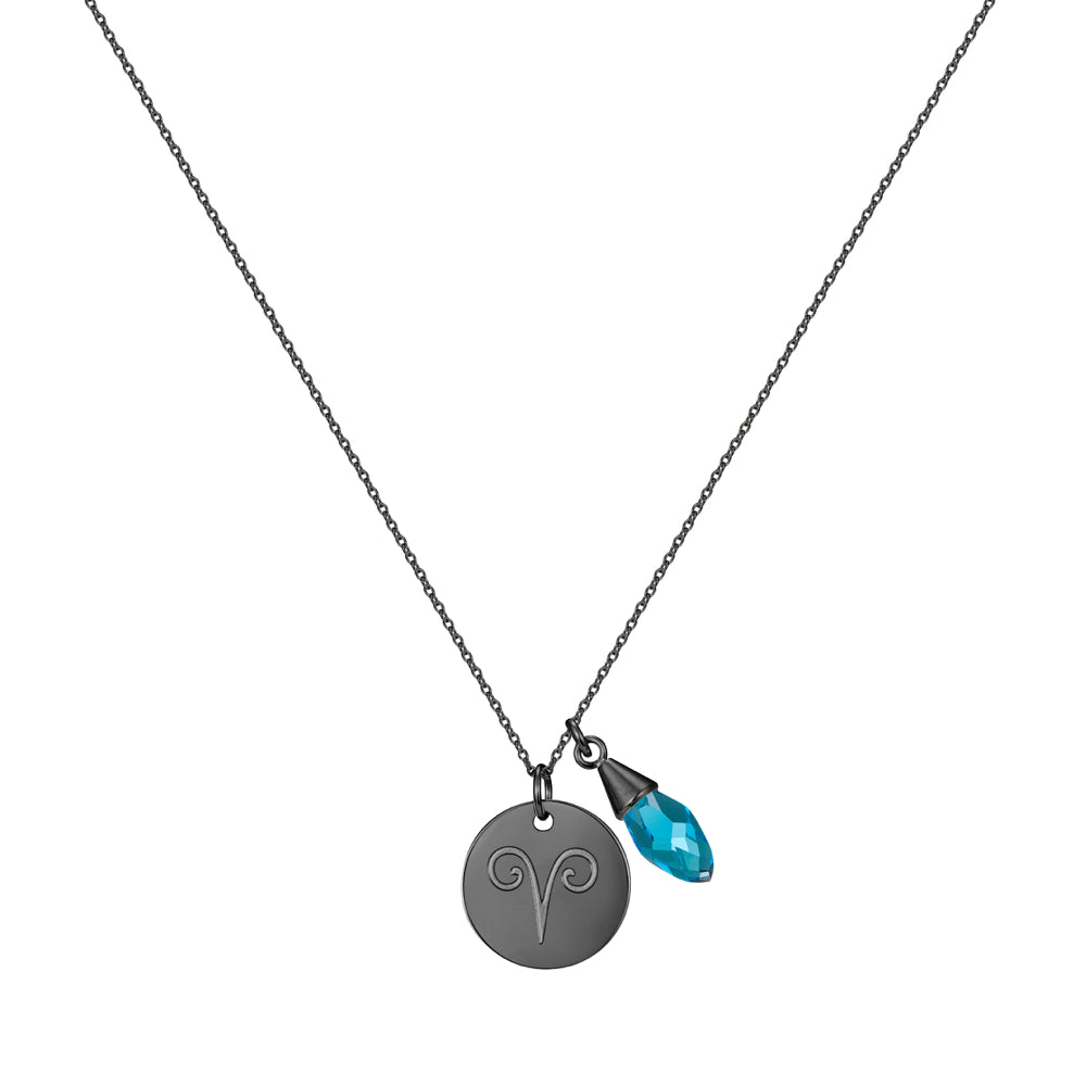 Taylor and Vine Star Signs Aries Black Necklace with Birth Stone 1