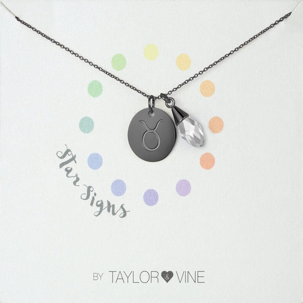 Taylor and Vine Star Signs Taurus Black Necklace with Birth Stone