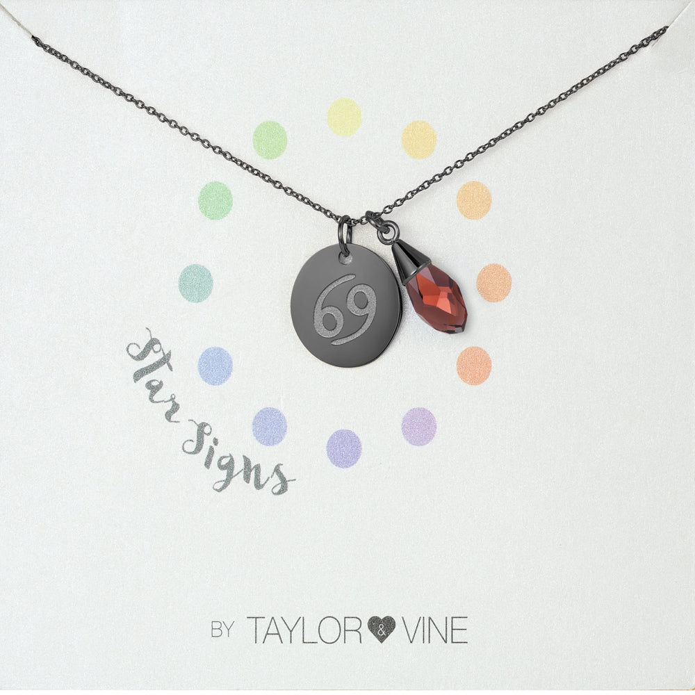 Taylor and Vine Star Signs Cancer Black Necklace with Birth Stone