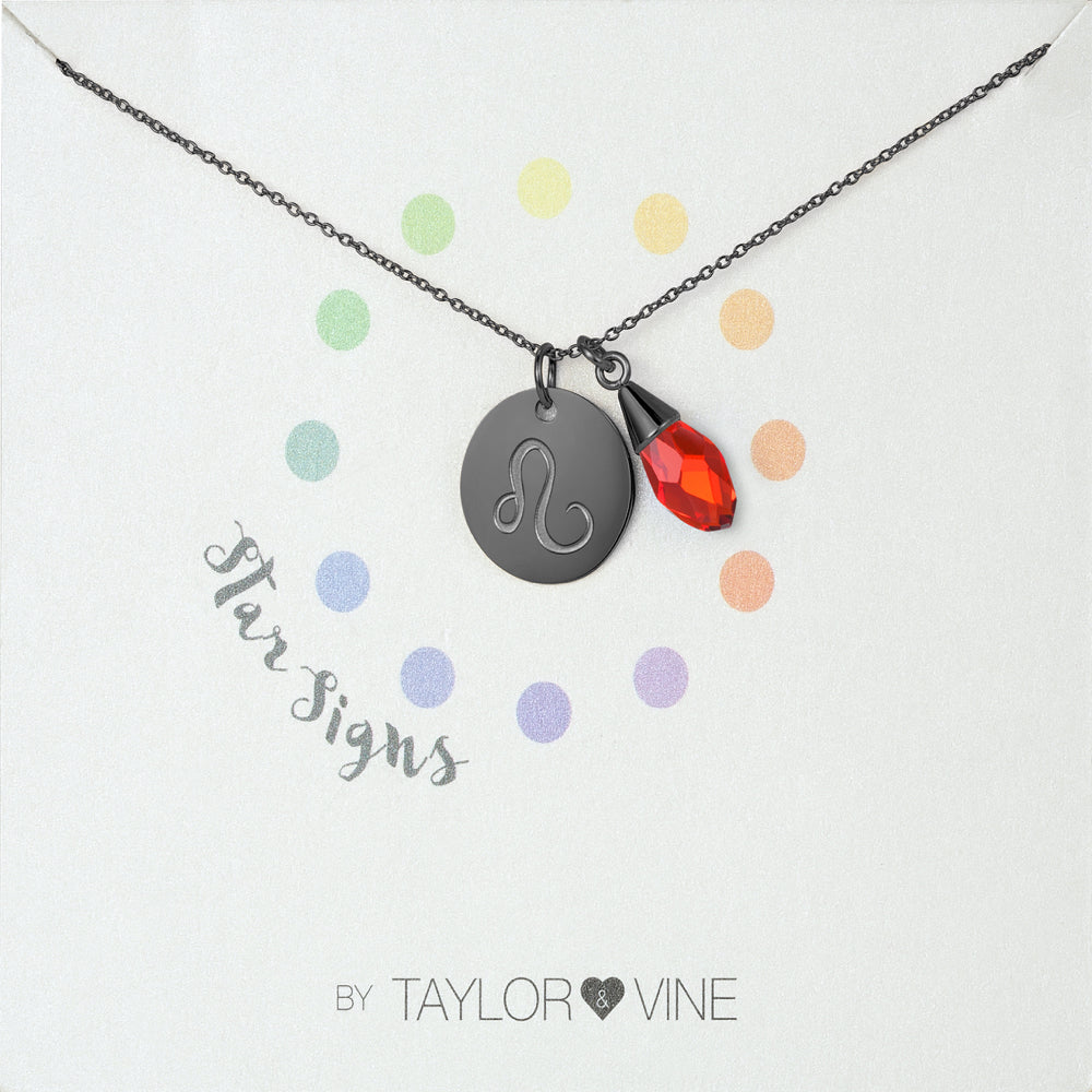 Taylor and Vine Star Signs Leo Black Necklace with Birth Stone