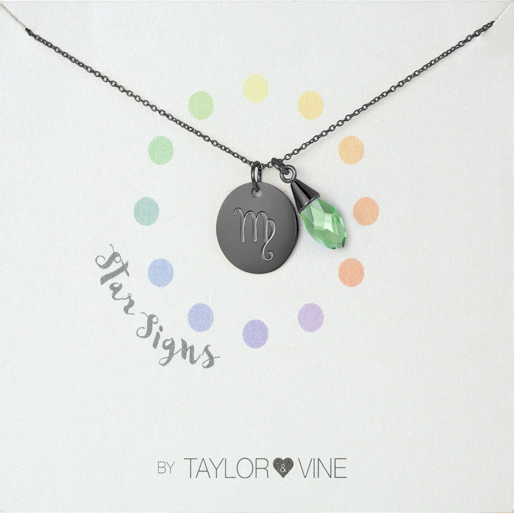 Taylor and Vine Star Signs Virgo Black Necklace with Birth Stone