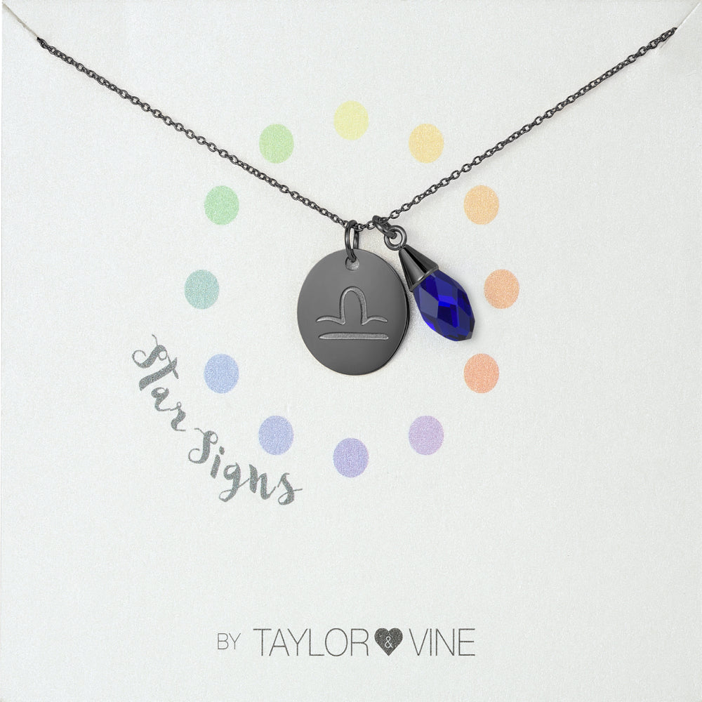 Taylor and Vine Star Signs Libra Black Necklace with Birth Stone