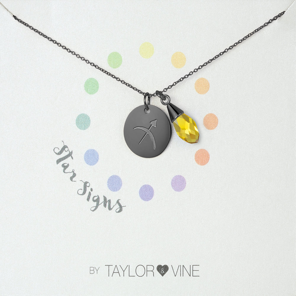 Taylor and Vine Star Signs Sagittarius Black Necklace with Birth Stone