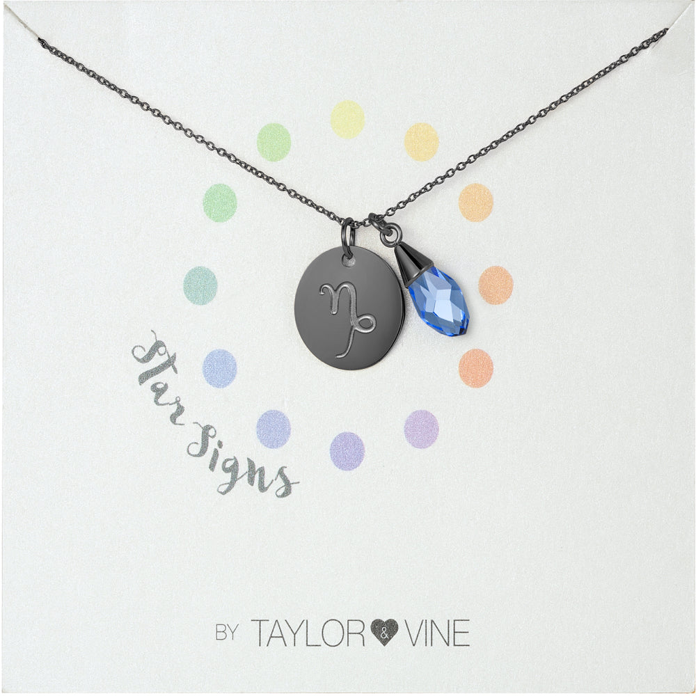 Taylor and Vine Star Signs Capricorn Black Necklace with Birth Stone
