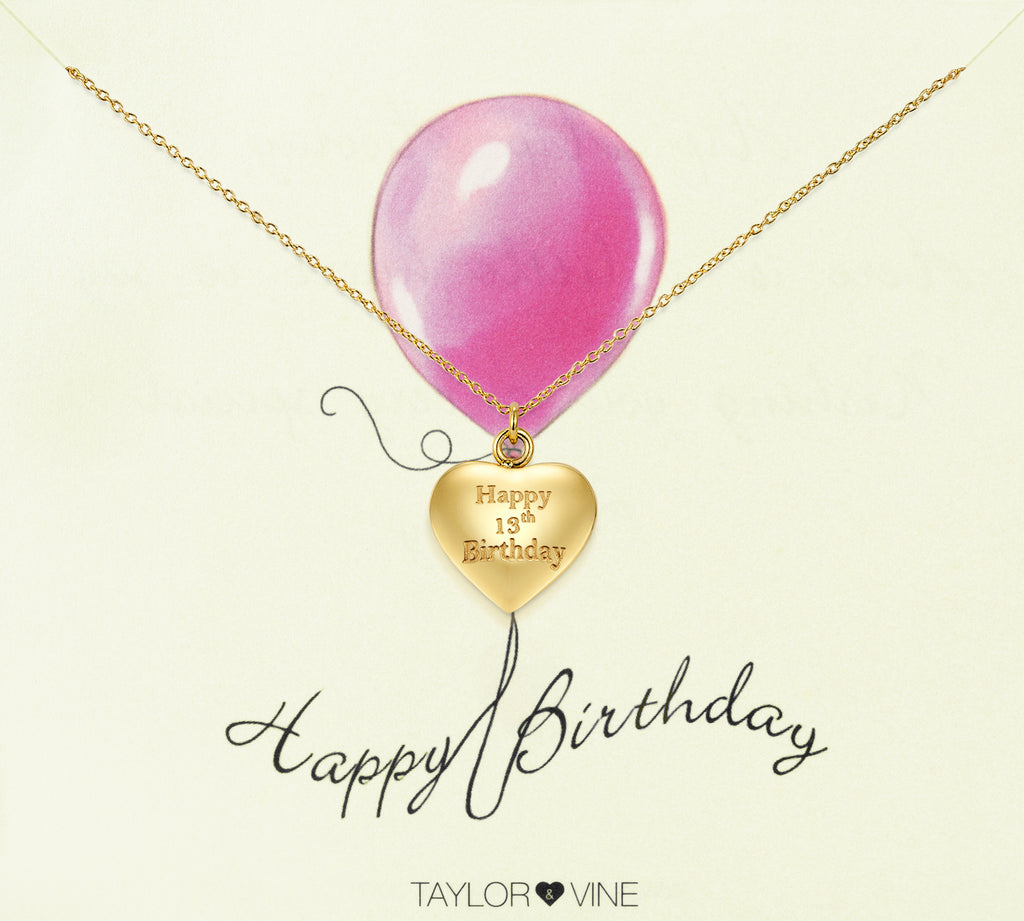 Taylor and Vine Gold Heart Pendant Necklace Engraved Happy 13th Birthday 14