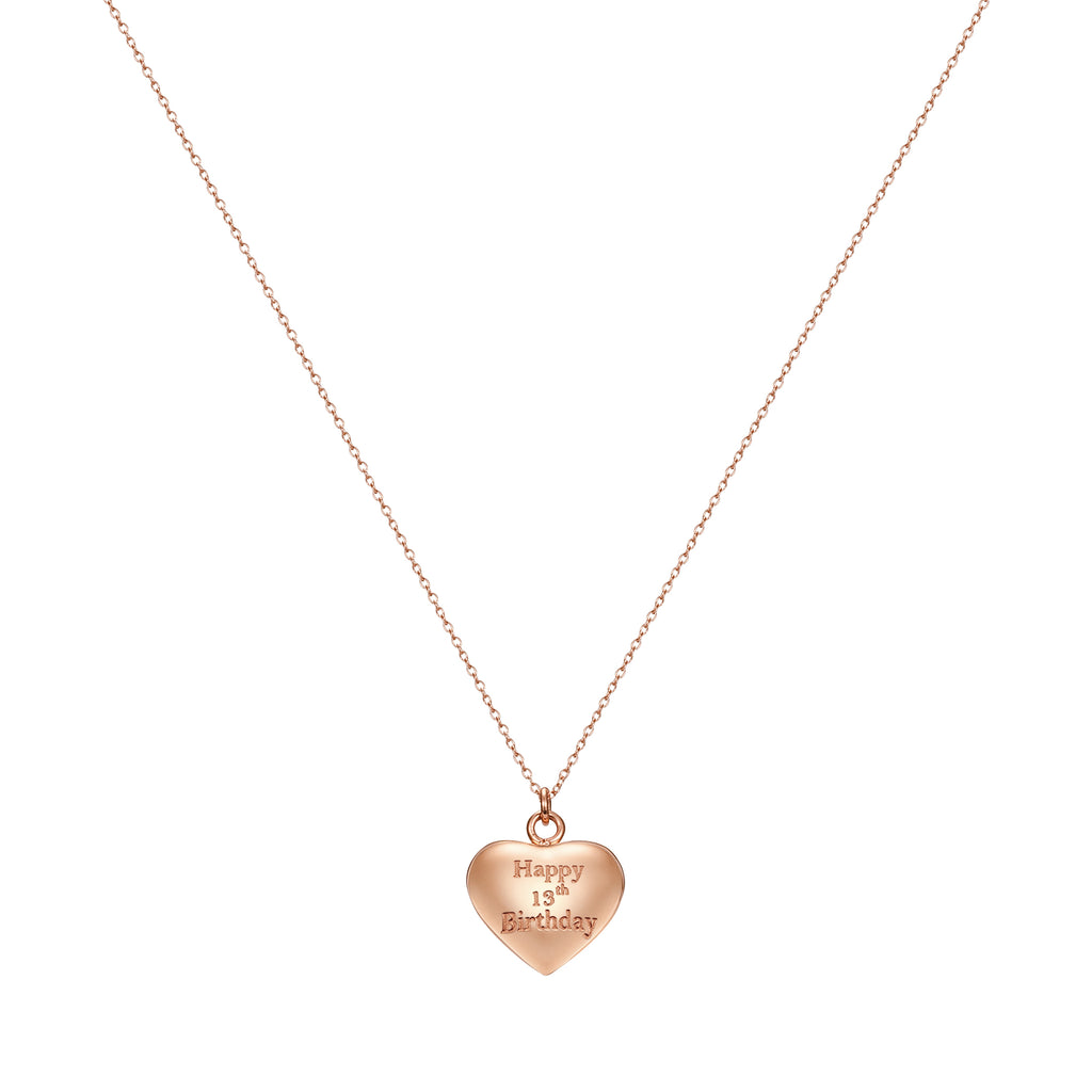 Taylor and Vine Rose Gold Heart Pendant Necklace Engraved Happy 13th Birthday 16