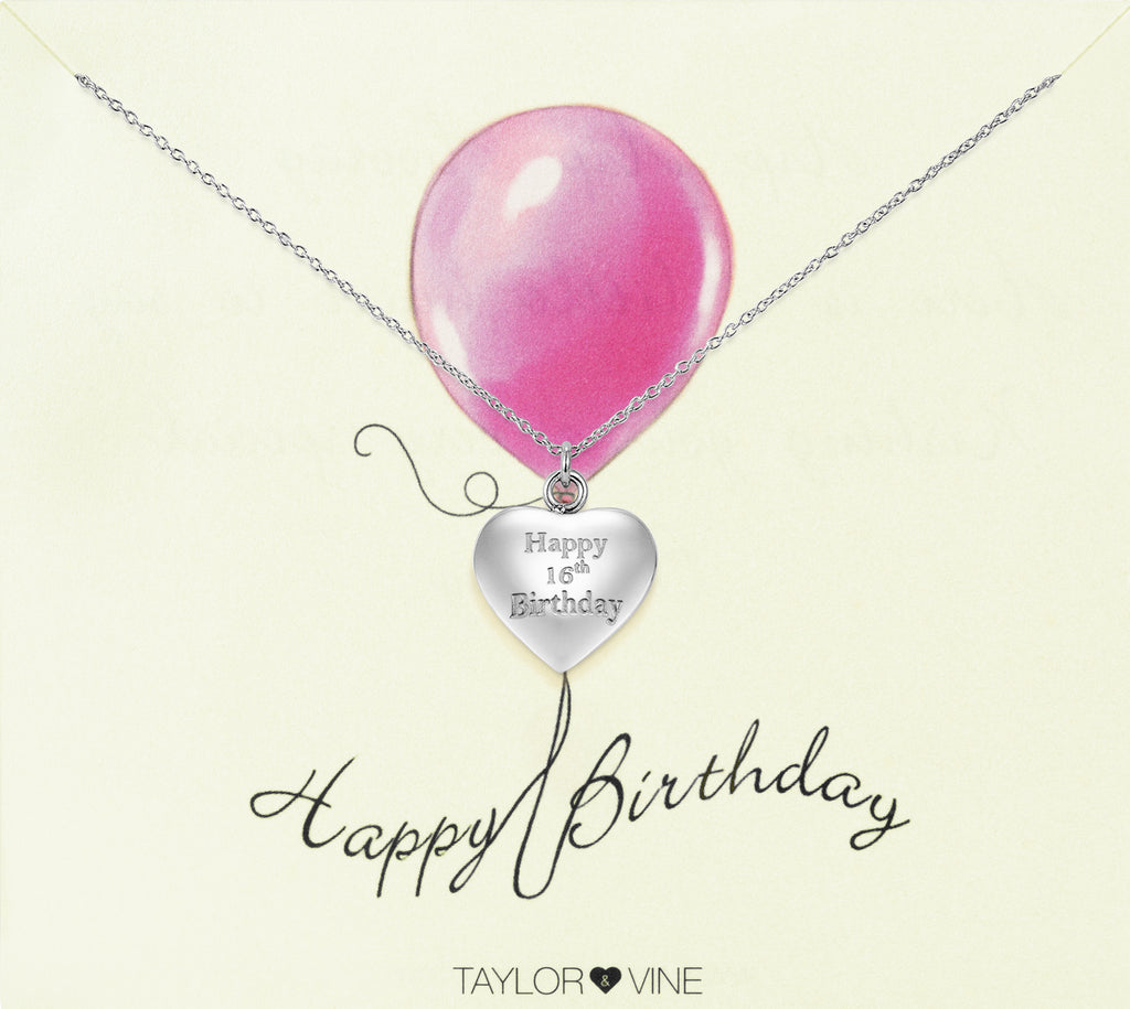 Taylor and Vine Silver Heart Pendant Necklace Engraved Happy 16th Birthday 14