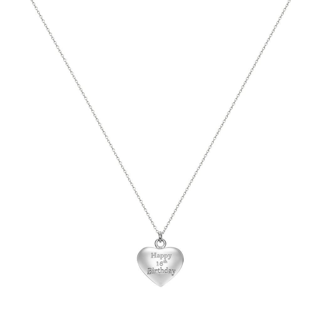 Taylor and Vine Silver Heart Pendant Necklace Engraved Happy 16th Birthday 16
