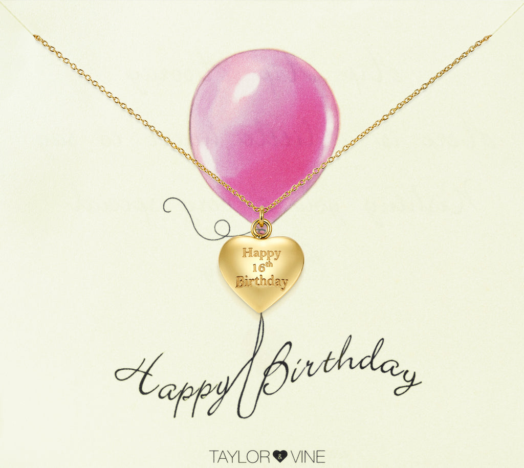 Taylor and Vine Gold Heart Pendant Necklace Engraved Happy 16th Birthday 14