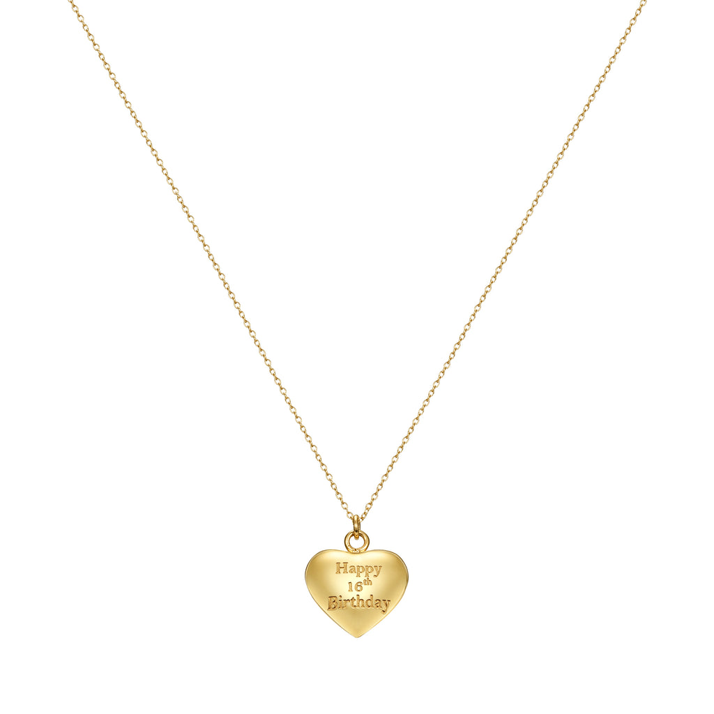 Taylor and Vine Gold Heart Pendant Necklace Engraved Happy 16th Birthday 16