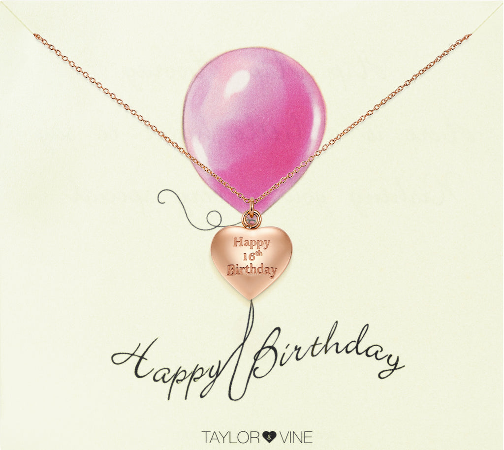 Taylor and Vine Rose Gold Heart Pendant Necklace Engraved Happy 16th Birthday 14