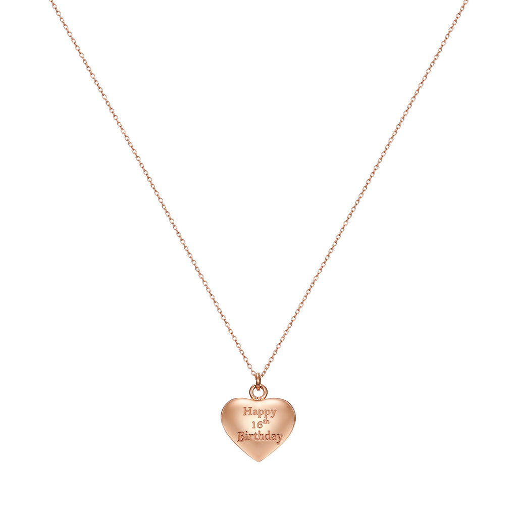 Taylor and Vine Rose Gold Heart Pendant Necklace Engraved Happy 16th Birthday 16