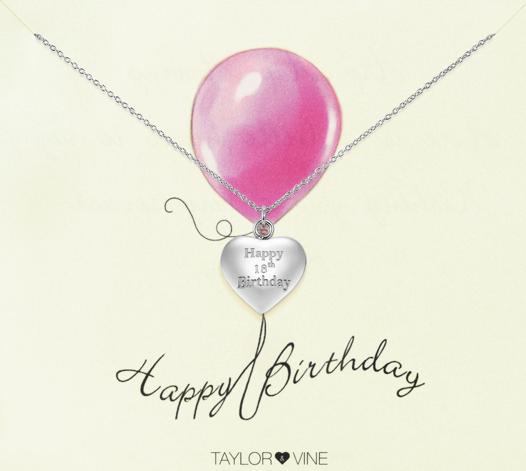 Taylor and Vine Silver Heart Pendant Necklace Engraved Happy 18th Birthday 14