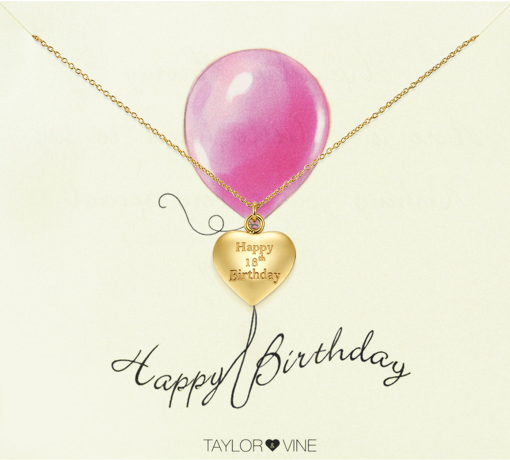 Taylor and Vine Gold Heart Pendant Necklace Engraved Happy 18th Birthday 20
