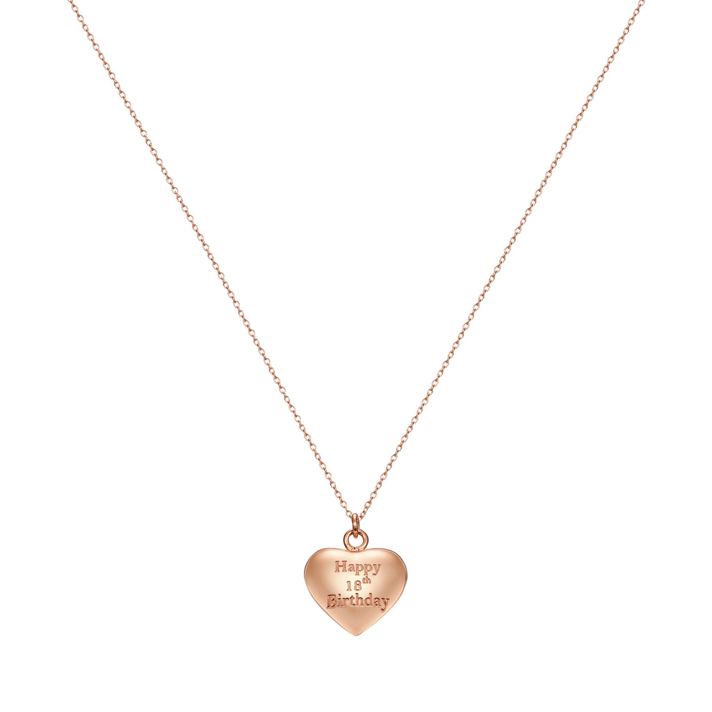 Taylor and Vine Rose Gold Heart Pendant Necklace Engraved Happy 18th Birthday 16