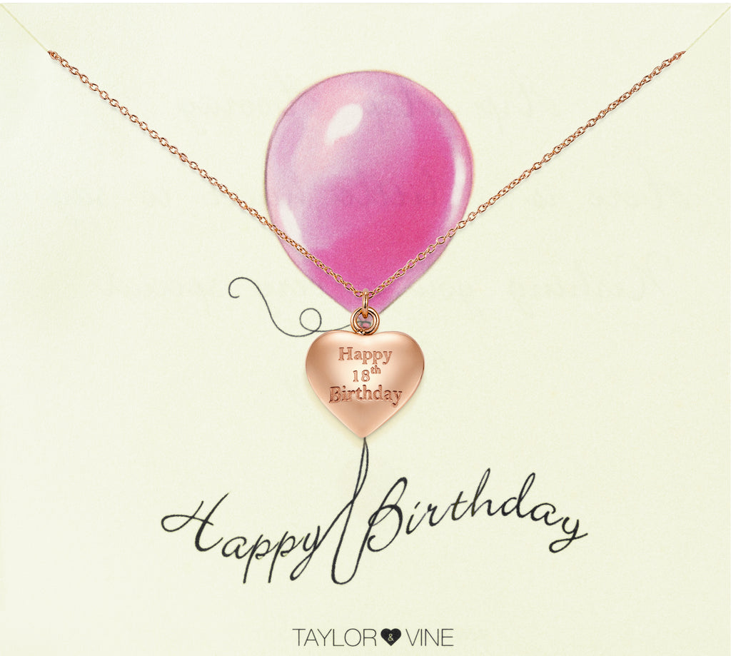 Taylor and Vine Rose Gold Heart Pendant Necklace Engraved Happy 18th Birthday 20