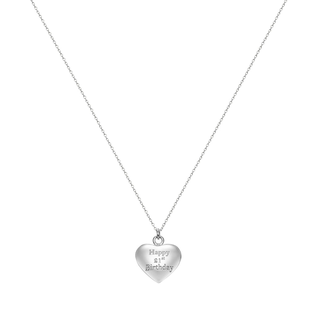 Taylor and Vine Silver Heart Pendant Necklace Engraved Happy 21st Birthday 16