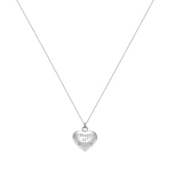 21st Birthday Heart Pendant Necklace Engraved 'Happy 21st Birthday', Silver