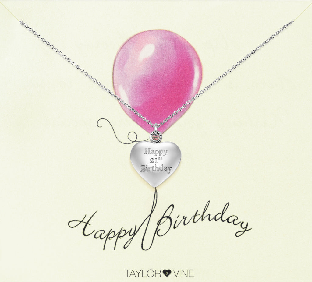 Taylor and Vine Silver Heart Pendant Necklace Engraved Happy 21st Birthday 20