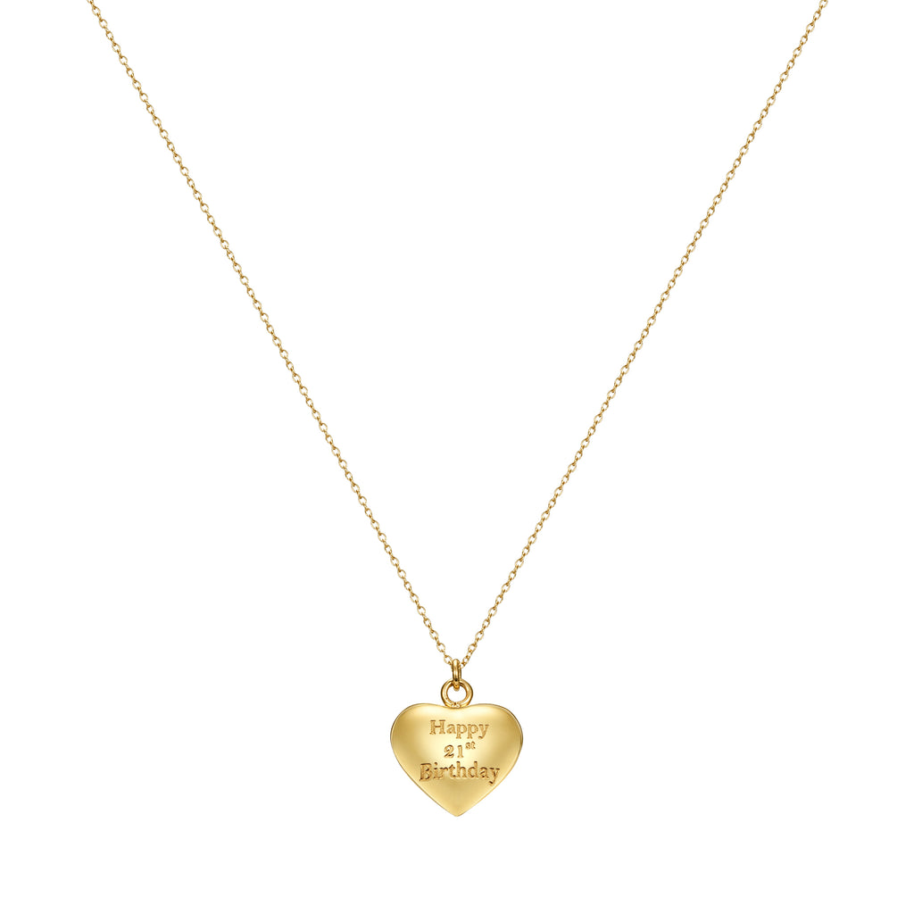 Taylor and Vine Gold Heart Pendant Necklace Engraved Happy 21st Birthday 16
