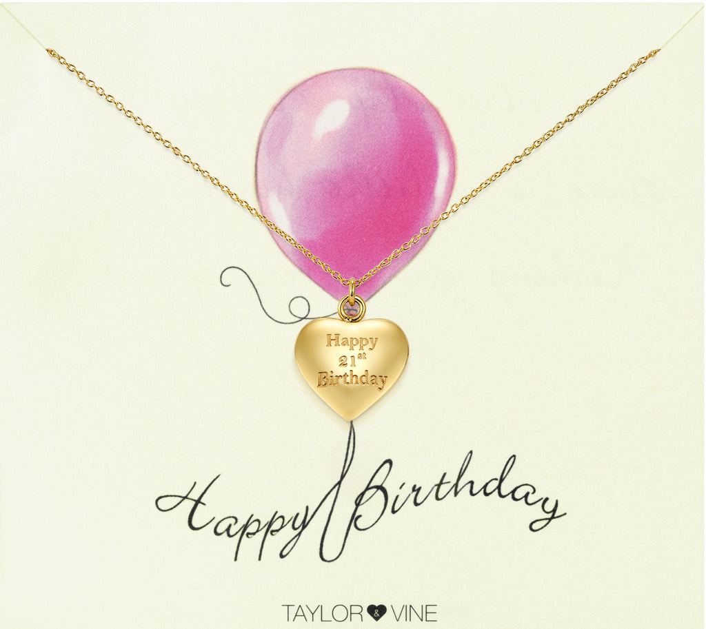 Taylor and Vine Gold Heart Pendant Necklace Engraved Happy 21st Birthday 20