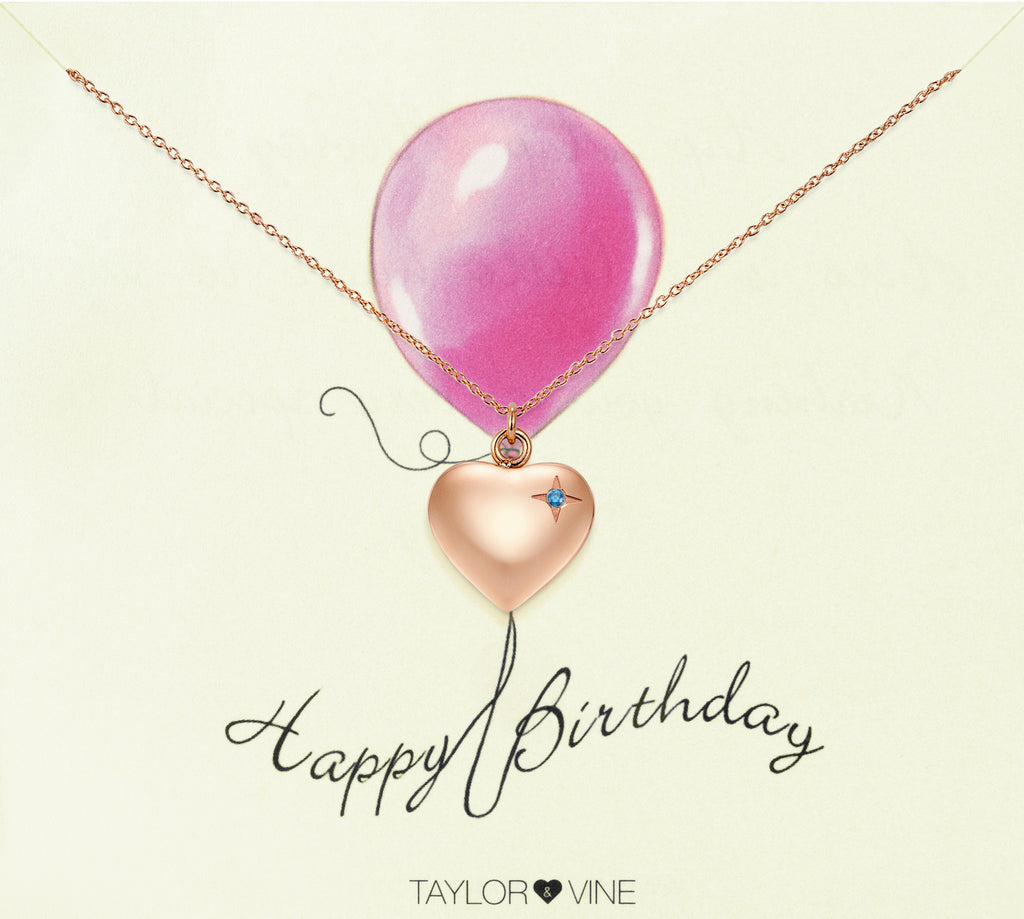 Taylor and Vine Rose Gold Heart Pendant Necklace Engraved Happy 21st Birthday