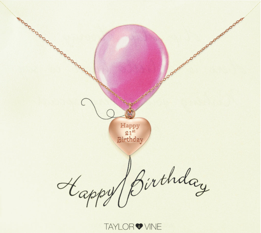 Taylor and Vine Rose Gold Heart Pendant Necklace Engraved Happy 21st Birthday 20