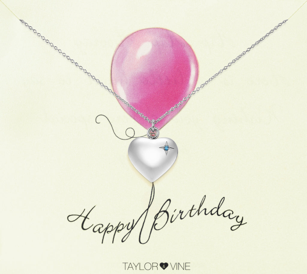 Taylor and Vine Silver Heart Pendant Necklace Engraved Happy Birthday