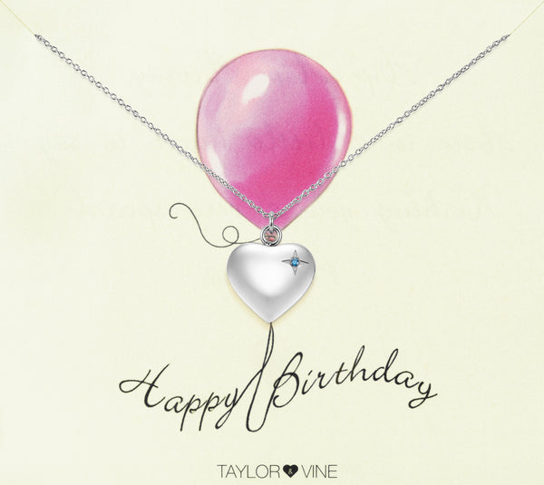 Happy Birthday Heart Pendant Necklace Engraved 'Happy Birthday', Silver