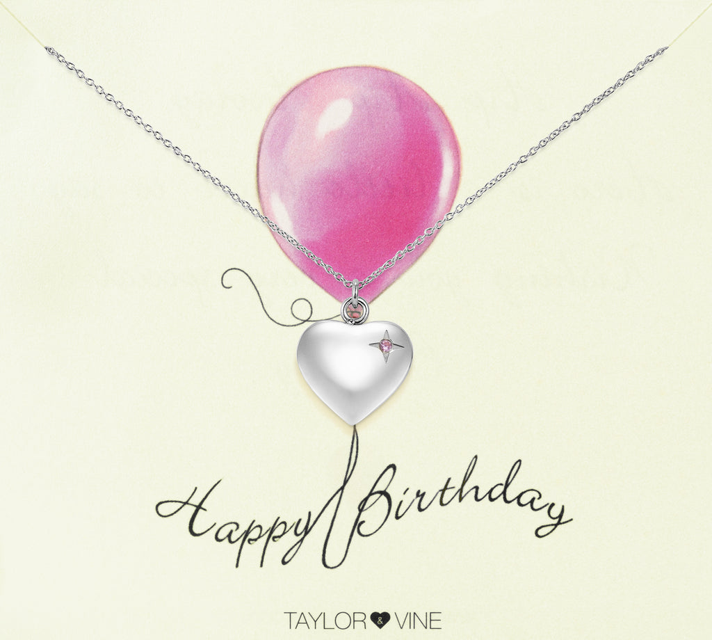 Taylor and Vine Silver Heart Pendant Necklace Engraved Happy Birthday 7