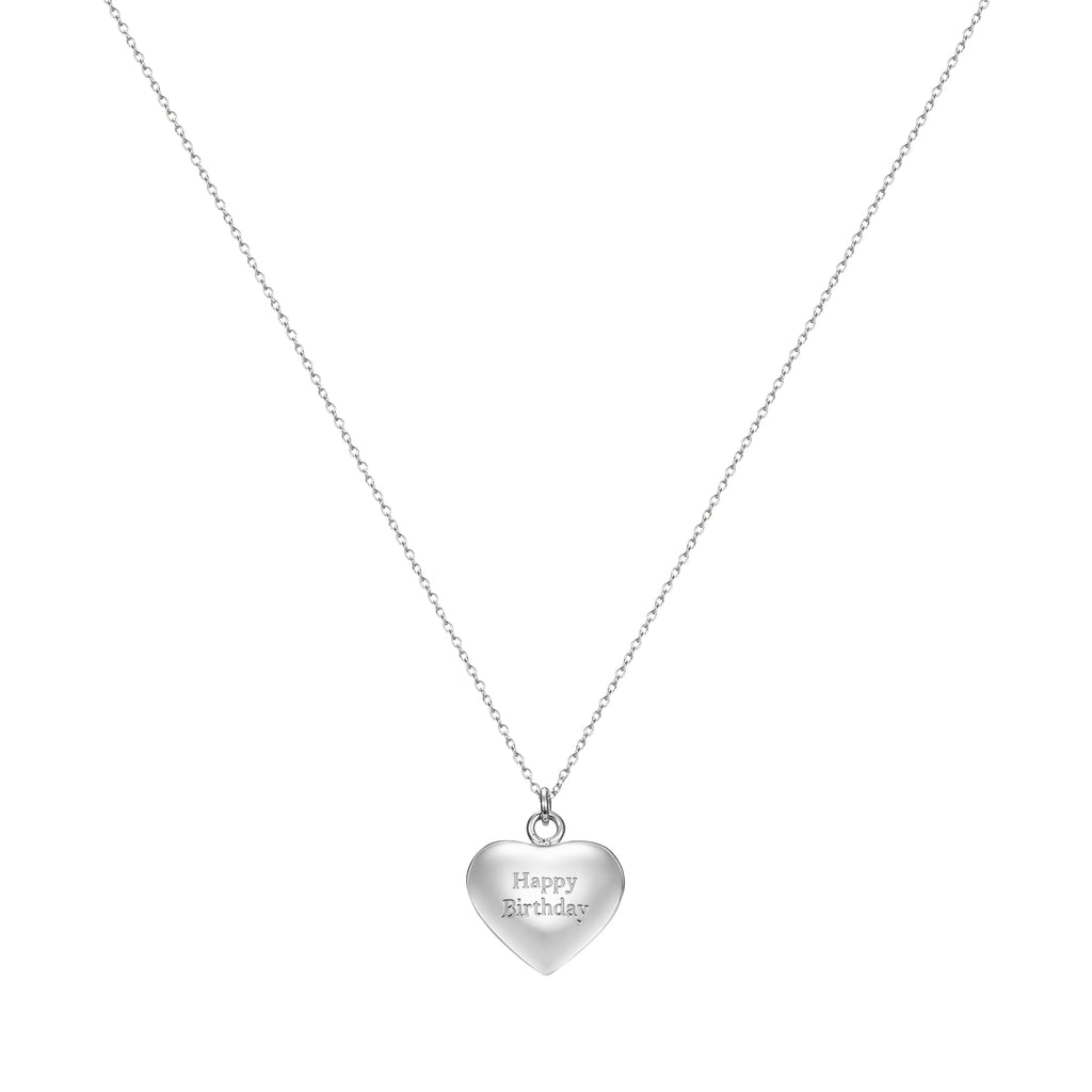 Taylor and Vine Silver Heart Pendant Necklace Engraved Happy Birthday 12