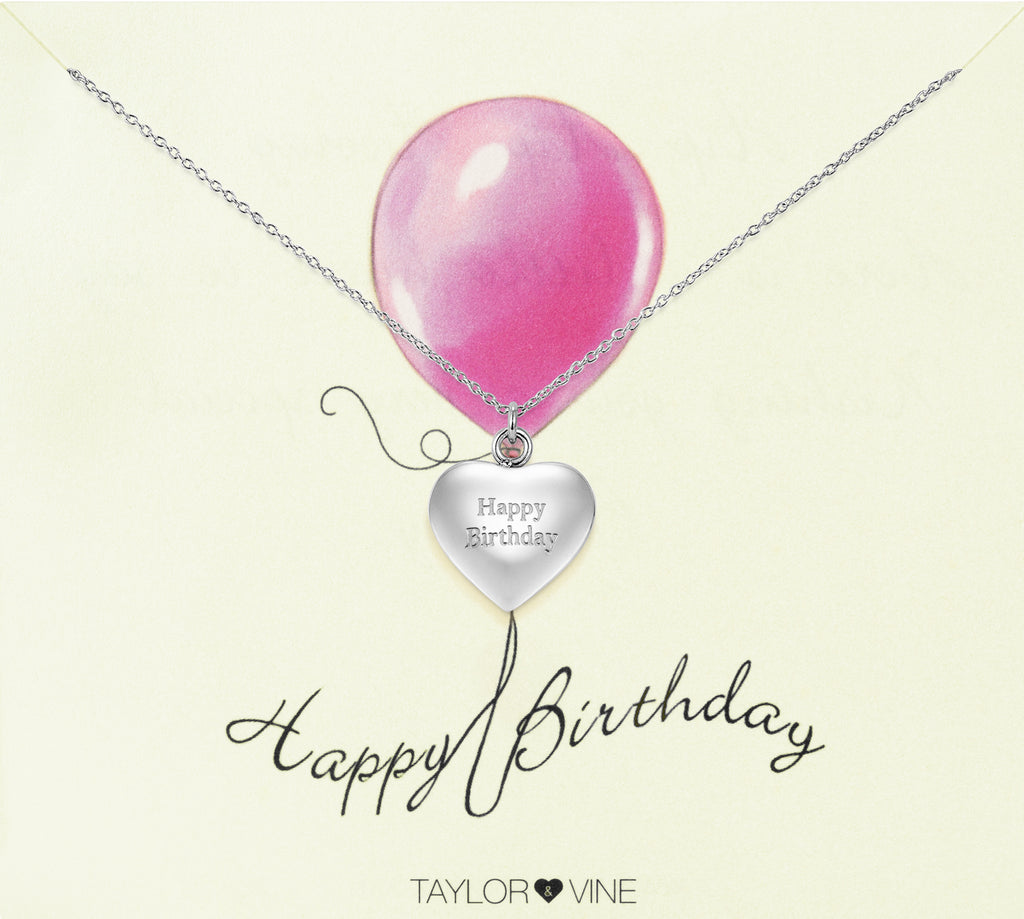 Taylor and Vine Silver Heart Pendant Necklace Engraved Happy Birthday 18