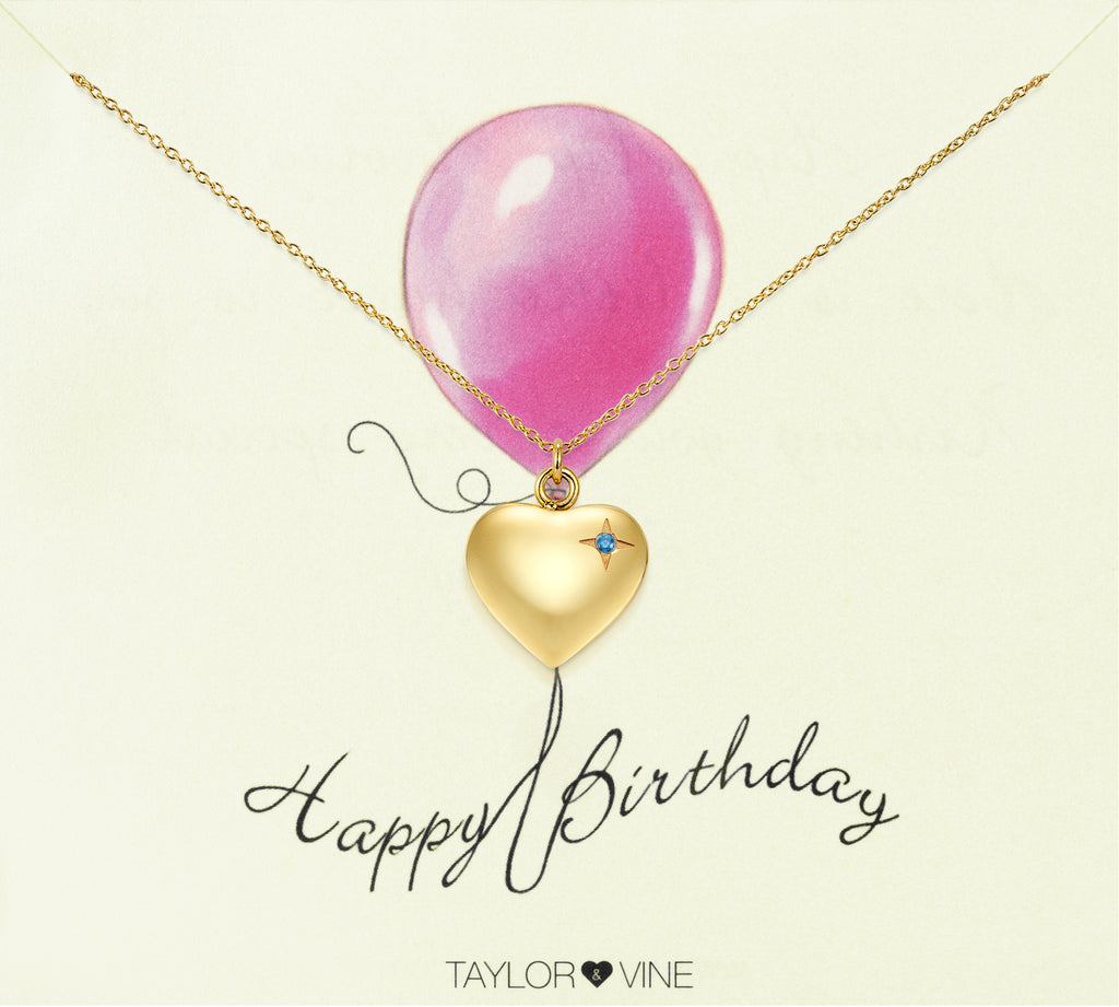 Taylor and Vine Gold Heart Pendant Necklace Engraved Happy Birthday