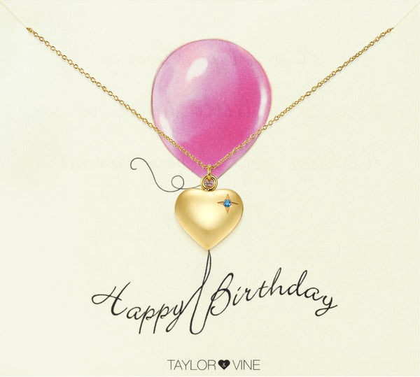 Happy Birthday Heart Pendant Necklace Engraved 'Happy Birthday', Gold