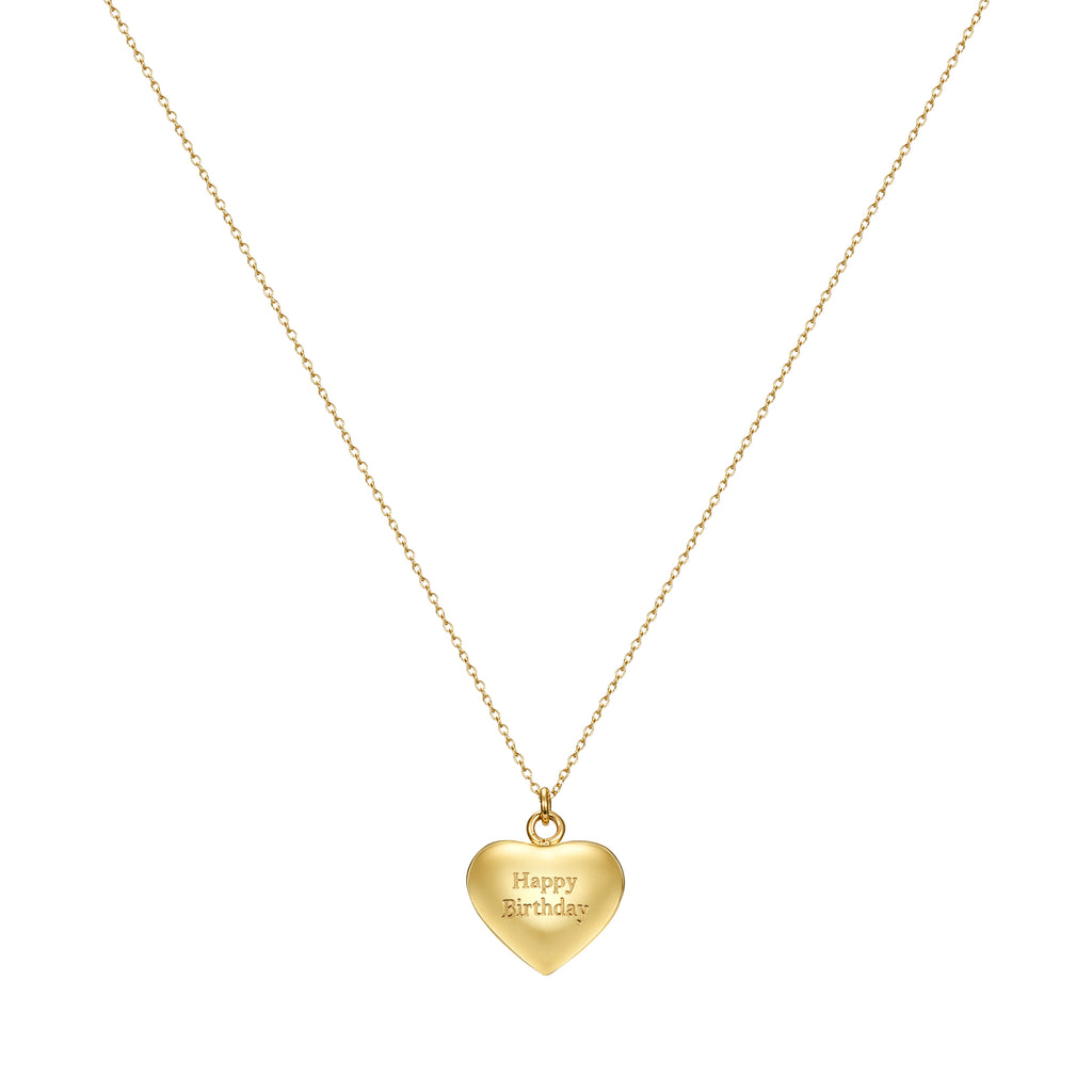 Taylor and Vine Gold Heart Pendant Necklace Engraved Happy Birthday 10