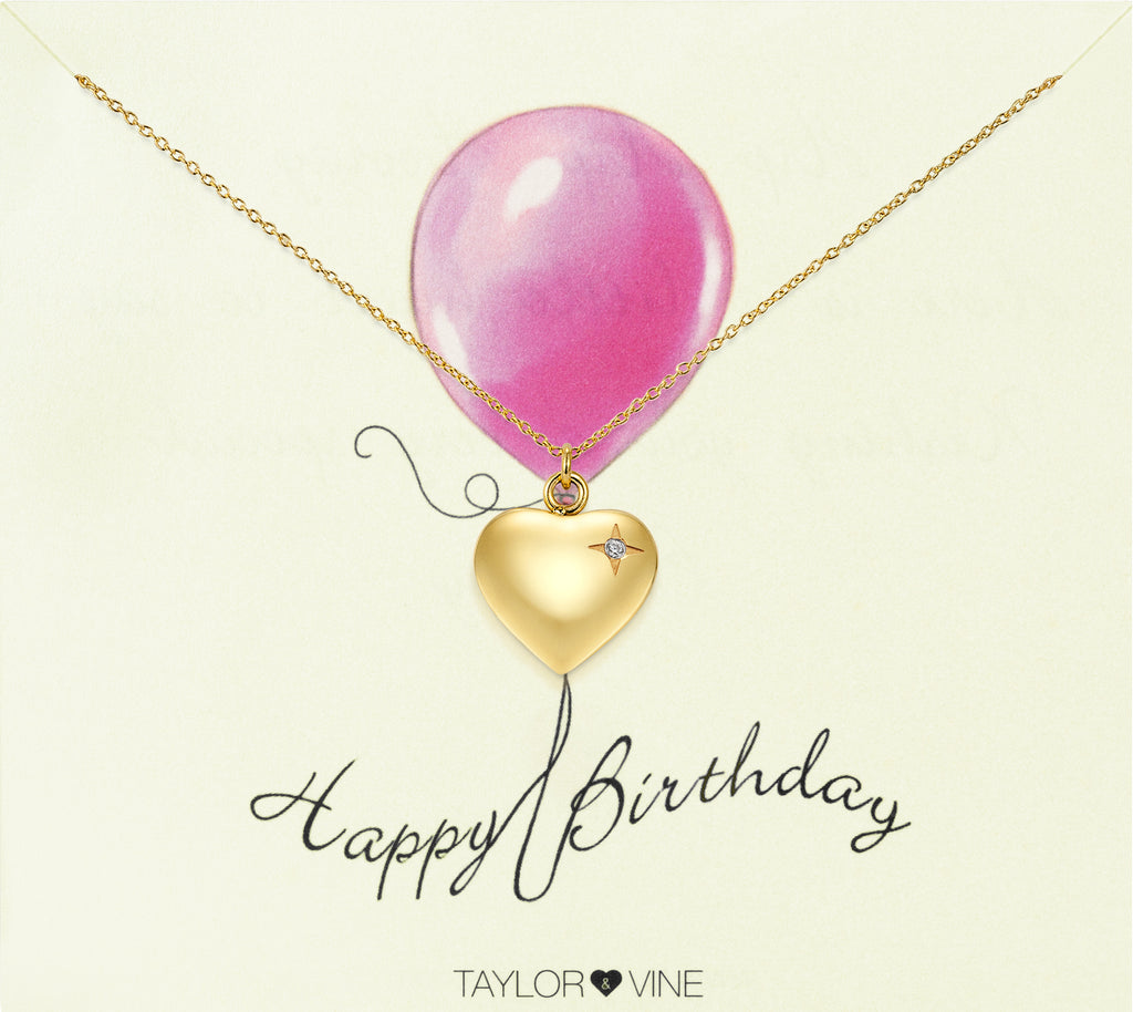 Taylor and Vine Gold Heart Pendant Necklace Engraved Happy Birthday 15