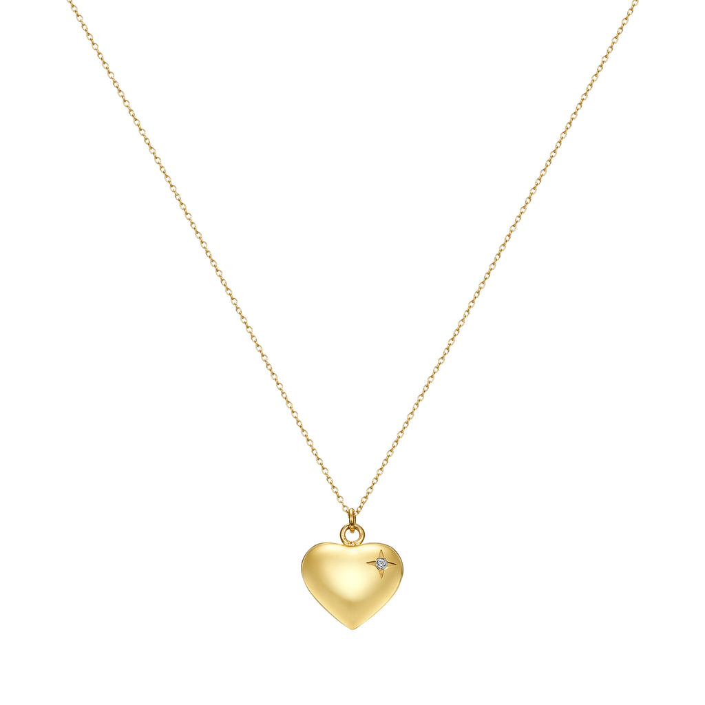 Taylor and Vine Gold Heart Pendant Necklace Engraved Happy Birthday 17