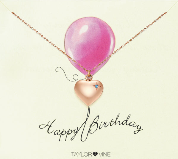 Happy Birthday Heart Pendant Necklace Engraved 'Happy Birthday', Rose Gold