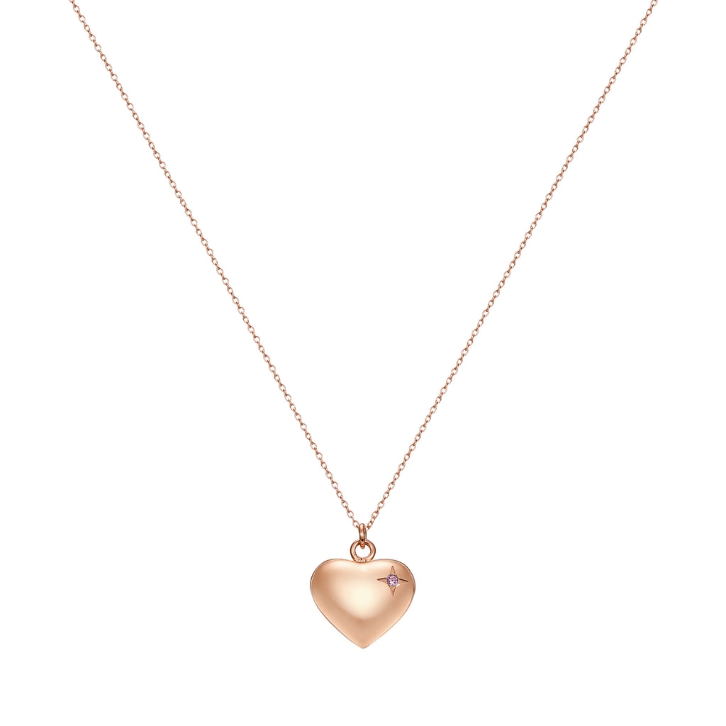 Taylor and Vine Rose Gold Heart Pendant Necklace Engraved Happy Birthday 10