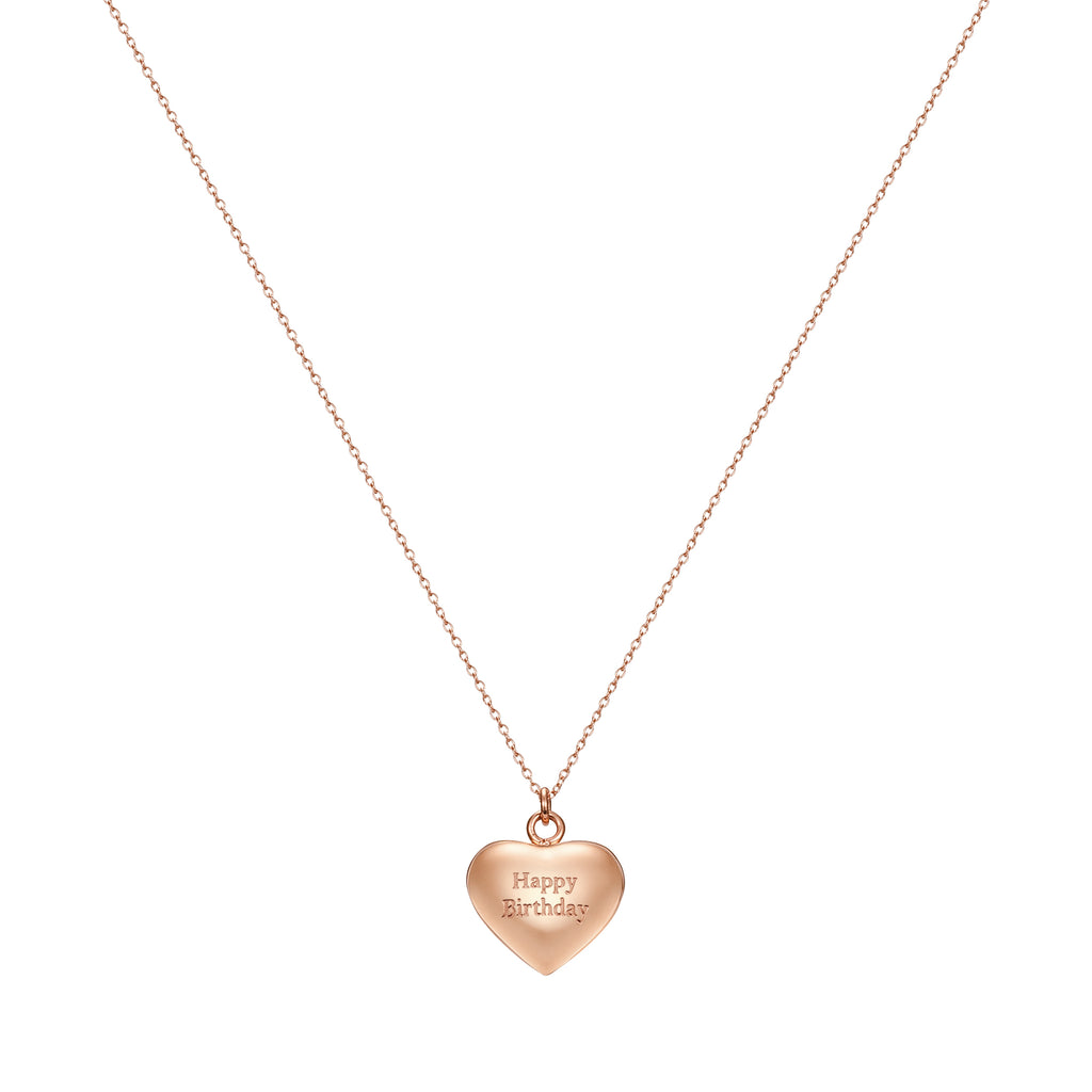 Taylor and Vine Rose Gold Heart Pendant Necklace Engraved Happy Birthday 15