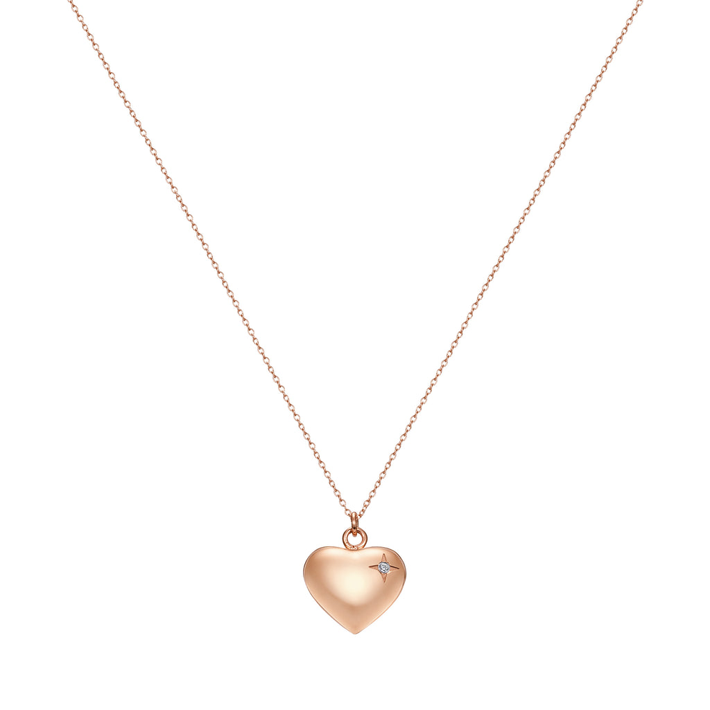 Taylor and Vine Rose Gold Heart Pendant Necklace Engraved Happy Birthday 16