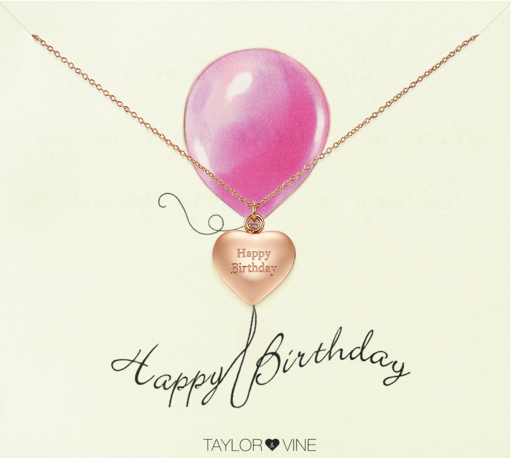 Taylor and Vine Rose Gold Heart Pendant Necklace Engraved Happy Birthday 19