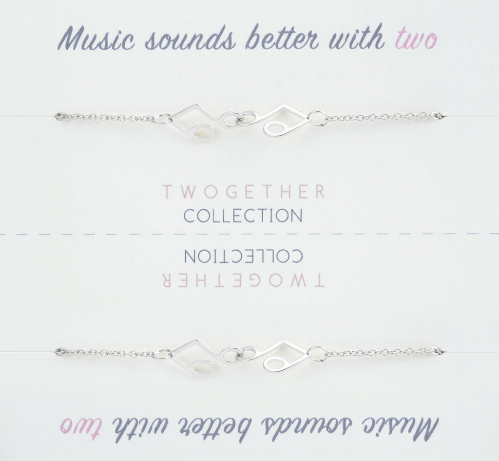 Friendship Music Pendant Necklace with Two Necklaces, One to Keep & One to Give