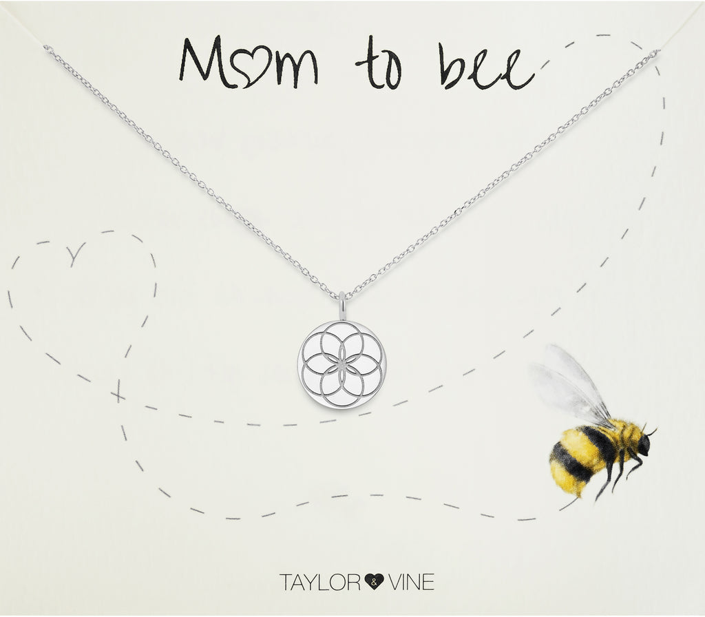 Taylor and Vine Mum to Be Pregnancy Silver Necklace Engraved with the Seed of Life