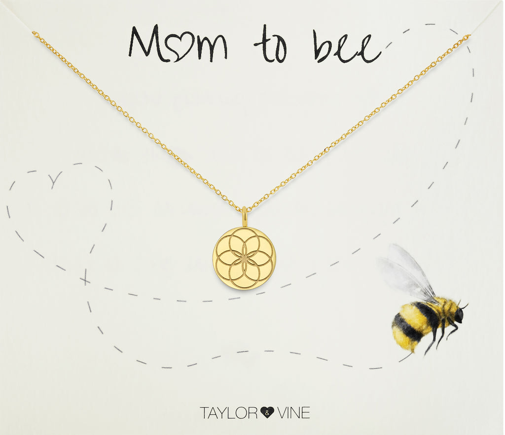 Taylor and Vine Mum to Be Pregnancy Gold Necklace Engraved with the Seed of Life 6