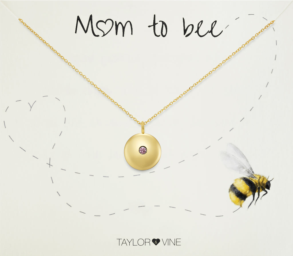Taylor and Vine Mum to Be Pregnancy Gold Necklace Engraved with the Seed of Life 11