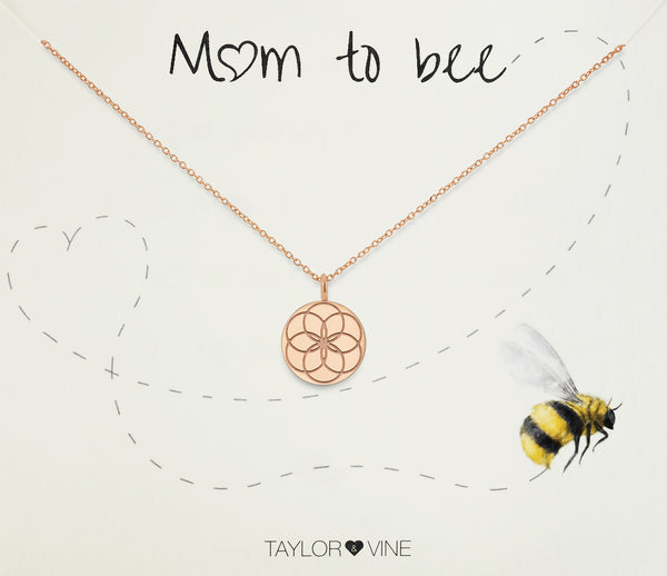 Mum To Bee Seed of Life Pendant Necklace with CZ, Rose Gold